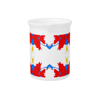 Red White Blue Yellow Boys Tribal Pattern Pitcher