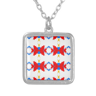 Red White Blue Yellow Boys Tribal Pattern Silver Plated Necklace