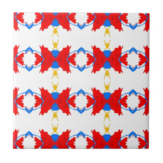 Red White Blue Yellow Boys Tribal Pattern Small Square Tile