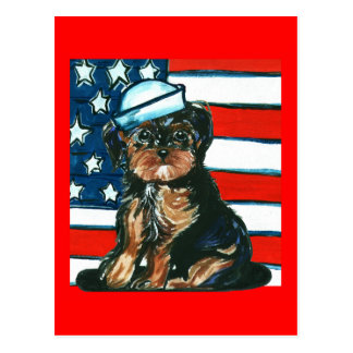 Red,White & Blue Yorkie Poo Postcard