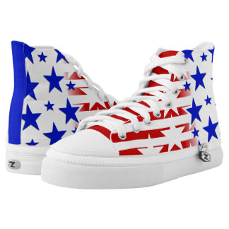 Red White Blue Zipz High Top Shoes Printed Shoes