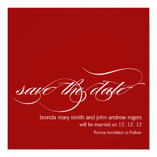 Red White Bold Save the Date Wedding Announcements