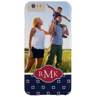 Red & White Buoy Pattern| Your Photo & Monogram Barely There iPhone 6 Plus Case