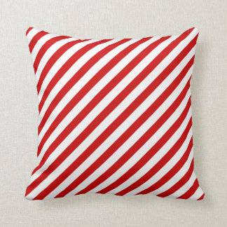 Red White Candy Cane Striped Christmas Throw Pillow