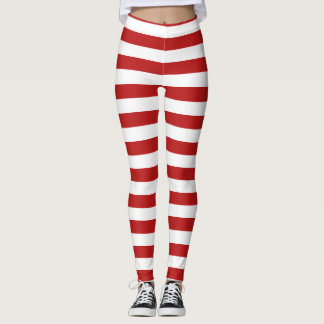 red white candy cane stripes christmas pattern leggings