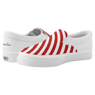 red white candycane peppermint candy pattern Slip-On shoes