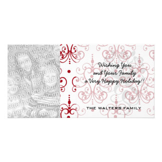 red white chandelier heart damask picture card