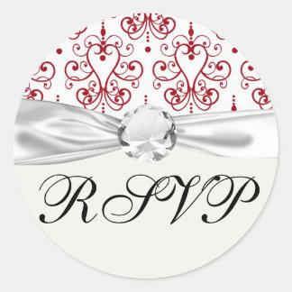 red white chandelier heart damask round sticker