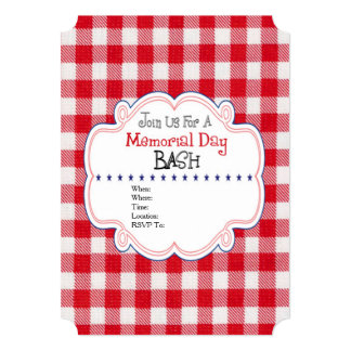 Red White Check Memorial Day Party Invitation
