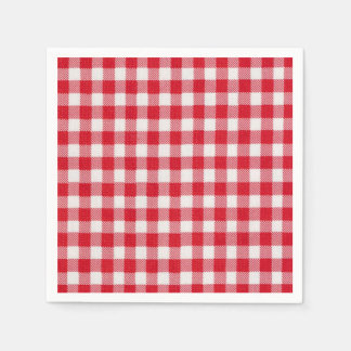 Red White Check Memorial Day Party Paper Napkins Disposable Napkin