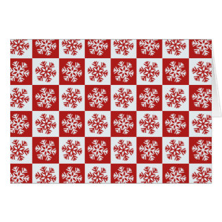 Red white checkerboard snowflake greeting card