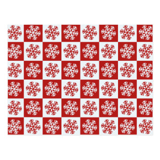 Red white checkerboard snowflake postcard