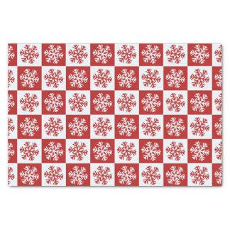 Red white checkerboard snowflake tissue paper