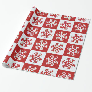 Red white checkerboard snowflake wrapping paper