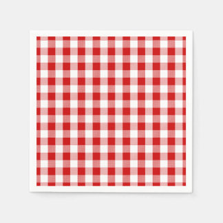 Red & White Checks Gingham Plaid- Country Rustic Paper Napkin