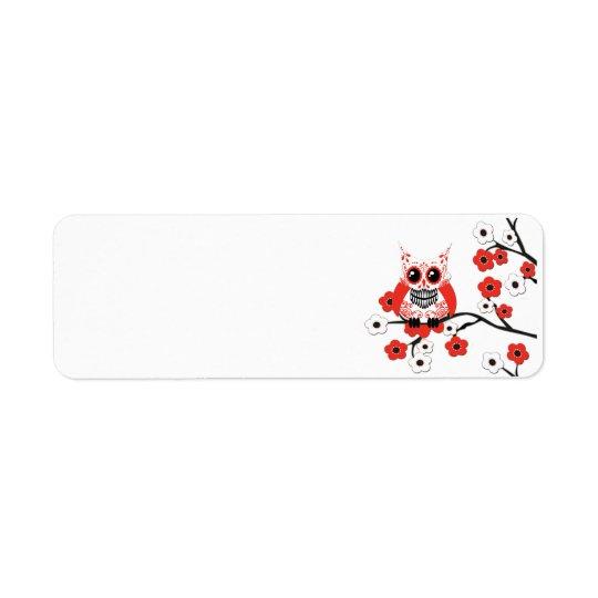 Red White Cherry Blossom Owl Label