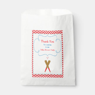 Red & White Chevron Baby Shower Party Favour Bag