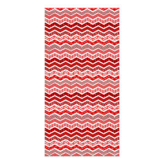 Red White Chevron Geometric Designs Color Personalised Photo Card