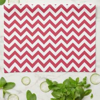 Red White Chevron Pattern Hand Towels