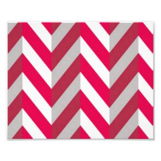 Red White Chevron Pattern Print Design