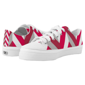 Red White Chevron Pattern Print Design Low Tops