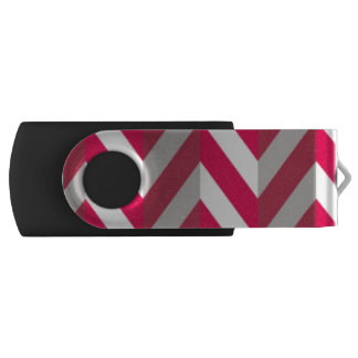 Red White Chevron Pattern Print Design USB Flash Drive