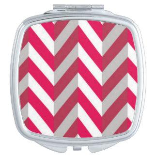 Red White Chevron Pattern Print Design Vanity Mirrors