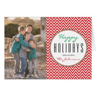 Red & White Chevron Personalized Xmas Photo Card