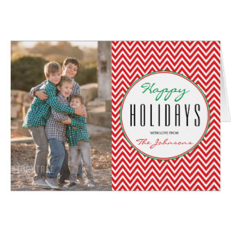 Red & White Chevron Personalized Xmas Photo Greeting Card