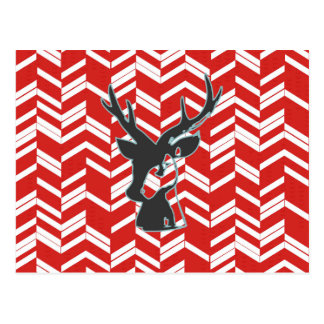 Red white,chevron,zig zag,deer,black,trendy,modern post card