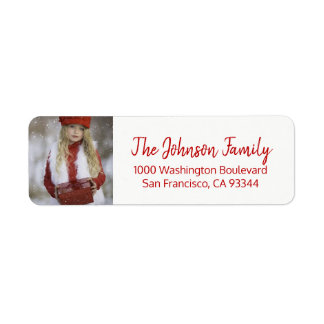 Red White Christmas Add PHOTO Return Address Return Address Label