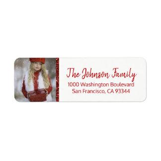 Red White Christmas Add YOUR PHOTO Return Address Return Address Label