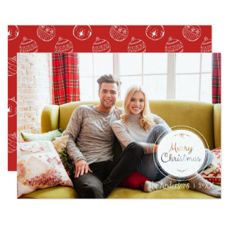 Red & White Christmas Ornaments Holiday Photo Card