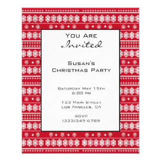 Red White Christmas Snowflake Pattern 11.5 Cm X 14 Cm Flyer