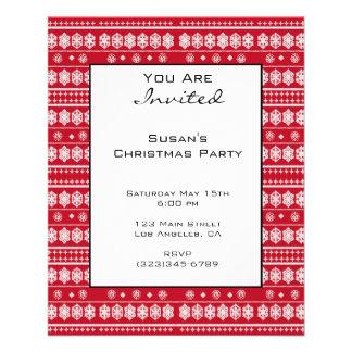 Red White Christmas Snowflake Pattern 11.5 Cm X 14 Cm Flyer