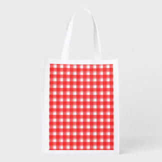 Red White Country Plaid Grocery Bag