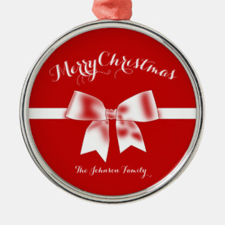 Red White Custom Merry Christmas Ornaments Bow
