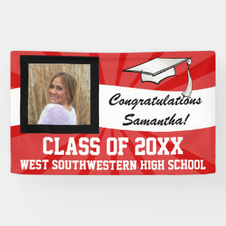 Red/White Custom Photo Graduation Sign