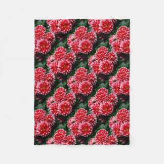 Red & White Dahlias Fleece Blanket