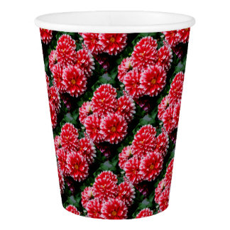 Red & White Dahlias Paper Cup