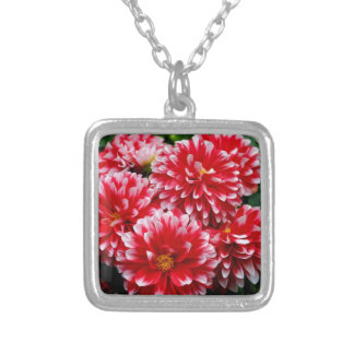 Red & White Dahlias Silver Plated Necklace