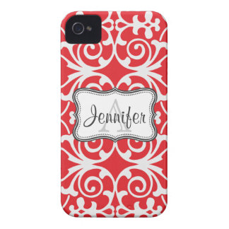 Red & White Damask Monogram iPhone 4/4s iPhone 4 Cases