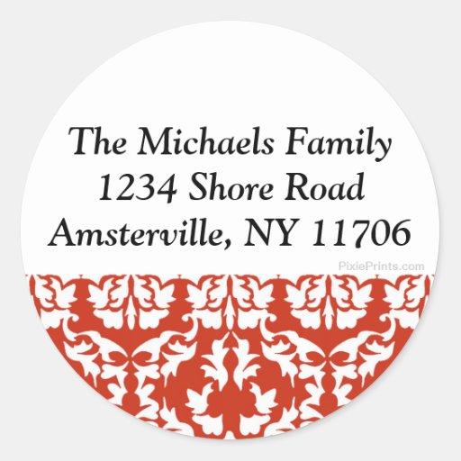 Red & White Damask Return Address Sticker