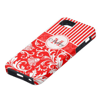 Red & White Damasks 2 & Stripes Pattern Customized Tough iPhone 5 Case