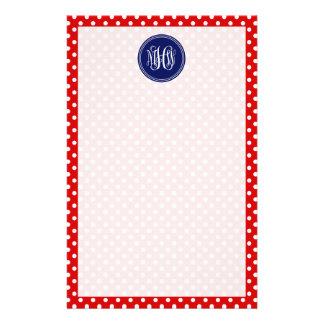 Red White Dot Navy 3 Init Vine Script Monogram Customised Stationery