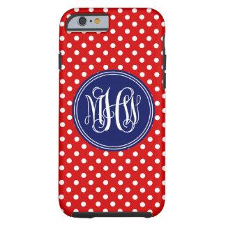 Red White Dot Navy 3 Init Vine Script Monogram Tough iPhone 6 Case