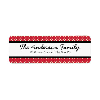 Red & White Dots - Address Labels