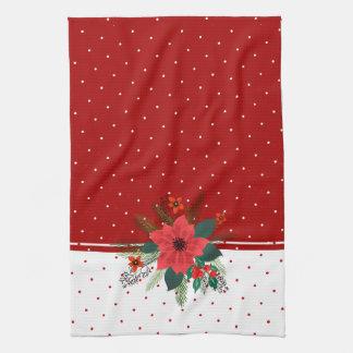 Red & White Dots Christmas Flowers Bouquet Tea Towel