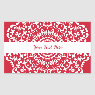 Red White Elegant Classy Lace Personalised Rectangular Sticker