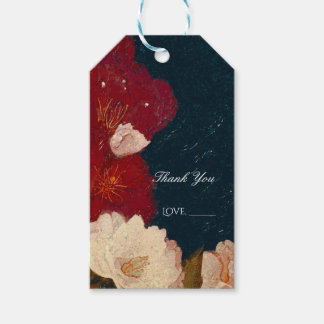 Red & White Elegant Modern Chic Floral Favor Gift Tags